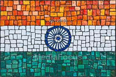 Close Up Of Old Vintage Mosaic Flag Of India With Texture Stock Photo