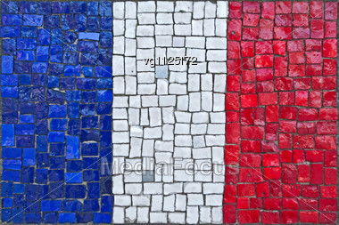 Close Up Of Old Vintage Mosaic Flag Of France With Texture Stock Photo