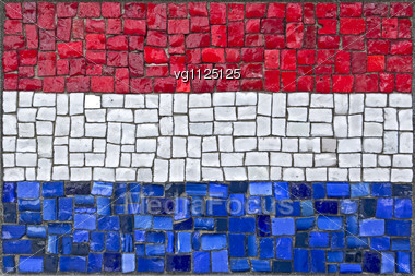 Close Up Of Old Vintage Mosaic Netherland Flag With Texture Stock Photo