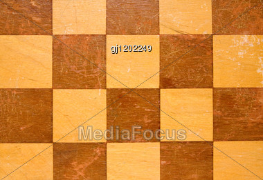 Close Up Of Old Wooden Checkers Board Table Stock Photo