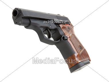 Close Up Of A Pistol And Ruff For Weapon Cleaningis Isolated Stock Photo