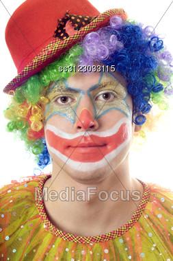 Close-up Portrait Of A Clown. Stock Photo