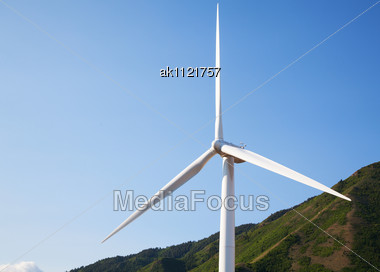 Close Up Of Power Mill's Propeller Against Blue Sky Stock Photo