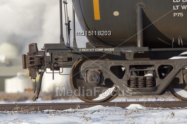 Close Up Rail Car Wheels Tanker Metal Moving Stock Photo