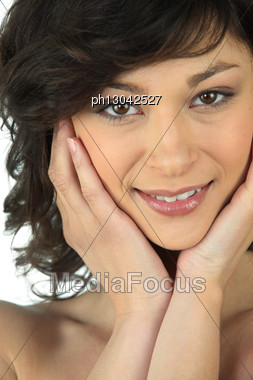 Close-up Shot Of A Woman's Face Stock Photo