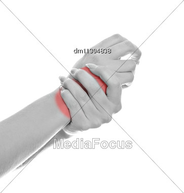Close Up View Of Female Hands With Wrist Pain. Isolated On White. Black And White Stock Photo