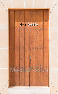 Close-up View Of Antique Wooden Door Stock Photo