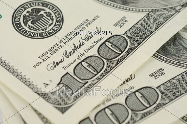 Close Up View Of Pack Dollar Banknotes Stock Photo