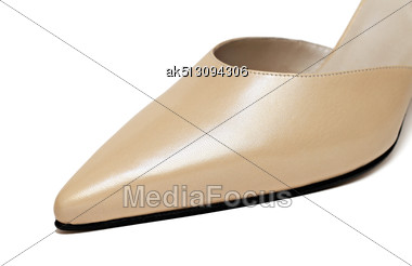 Close Up Of Yellow Woman Shoe Isolated On White Stock Photo
