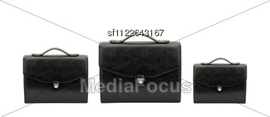 Closed Black Briefcase Stock Photo