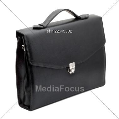 Closed Black Briefcase Stock Photo
