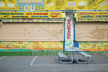 Closed Hot Dog Eatery Stock Photo