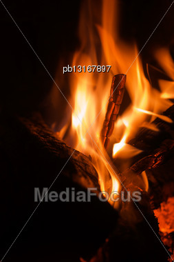 Closeup Fireplace With Burning Fire Woods Stock Photo
