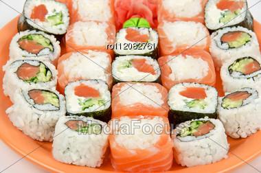 Closeup Japanese Sushi Set At Plate Closeup Stock Photo