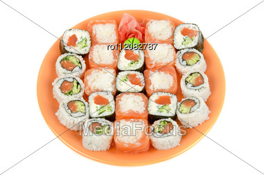 Closeup Japanese Sushi Set At Plate On A White Stock Photo