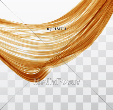 Closeup Of Long Human Hair With Tilt Shift Effects. Vector Illustraion On Chekered Background Stock Photo