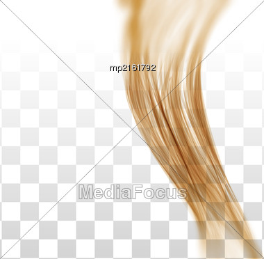 Closeup Of Long Human Hair With Tilt Shift Effects. Vector Illustraion On On Chekered Background Stock Photo