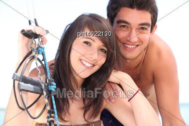 Closeup Of A Couple Sailing Stock Photo