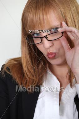 Closeup Of A Seductive Woman Pouting Stock Photo