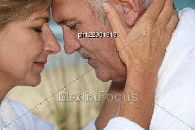 Closeup Of A Mature Couple In Love Stock Photo