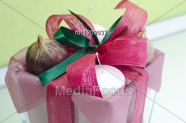 Closeup Photo Of Decoration Candle At The Table Stock Photo
