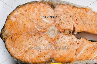 Closeup Photo Of Grilled Salmon Fish - Tasty Dish Stock Photo