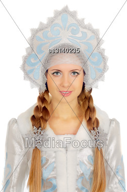 Closeup Portrait Of A Beautiful Snow Maiden. Isolated Stock Photo