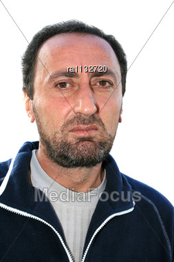 Closeup Portrait Of A Bearded Brunette Man Stock Photo