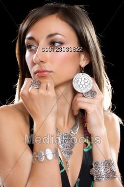 Closeup Portrait Of A Beautiful Young Brunette Stock Photo
