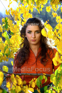Closeup Portrait Of A Young Woman Outdoors Stock Photo