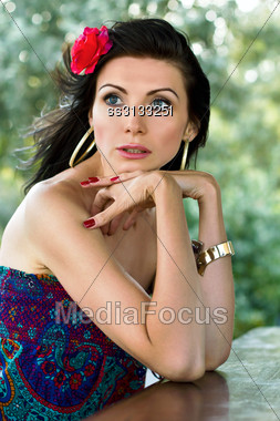 Closeup Portrait Of A Sensual Young Woman Outdoors Stock Photo