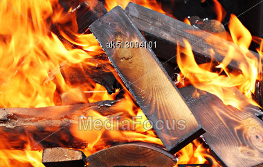 Closeup Of Very Hot Campfire, Outdoors, High Resolution Stock Photo