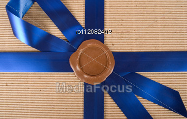 Closeup Of Wax Seal At Gift Box Stock Photo