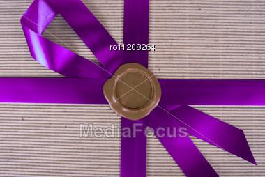 Closeup Of Wax Seal At Gift Box Stock Photo