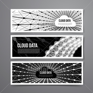 Cloud Data Connection Technology. Vector Set On Grey Background Stock Photo