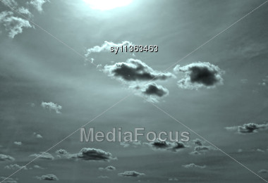 Cloud On Dark Sky Stock Photo