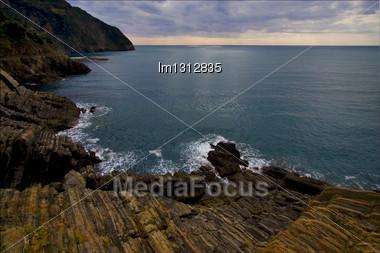 Clouds Abstract Rock Water And Coastline In Via Dell Amore Riomaggiore Manarola Italy Stock Photo
