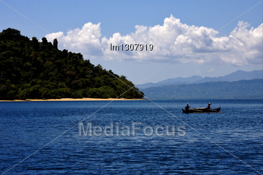 Cloudy Hill Navigable Froth Lagoon And Coastline In Madagascar Nosy Be Stock Photo