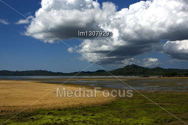 Cloudy Isle River Palm Rock Stone Branch Hill Lagoon And Coastline In Madagascar Nosy Be Lokobe Reserve Stock Photo