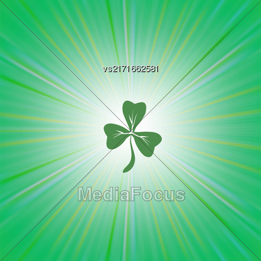 Clover Icon On Green Wave Pattern. Shamrock Leaf. St. Patricks Day Background Stock Photo