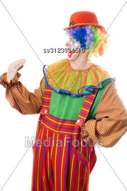 Clown Speaks With His Hand. Isoltaed On White Stock Photo