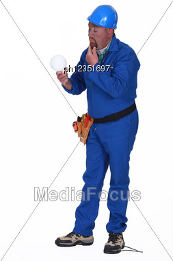 Clumsy Electrician Stock Photo