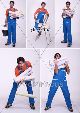 Clumsy Worker Stock Photo