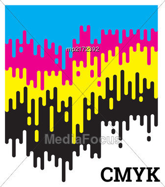 CMYK Concept Vector Illustration With Rounded Irregular Lines Stock Photo