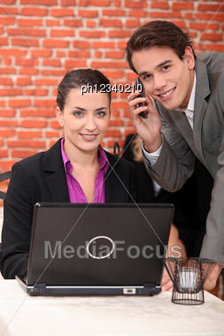 Co-workers In A Restaurant Stock Photo