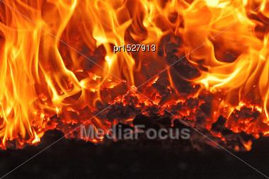 Coal Fire Inside Steam Boiler Stock Photo