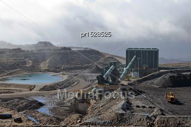 Coal Washing Facility At An Open Cast Coal Mine, Westland, New Zealand Stock Photo