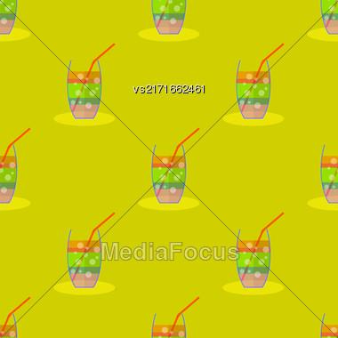 Cocktail Seamless Pattern On Yellow. Beverage Background Stock Photo