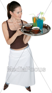 Cocktail Waitress Stock Photo