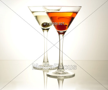Cocktails With Olive And Cherry Stock Photo
